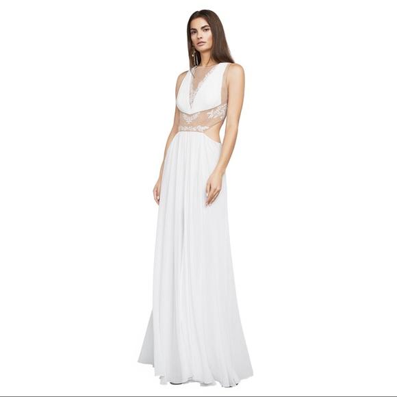BCBGMaxAzria Dresses | Bcbg White Formal Wedding Prom Gown Maxi ...